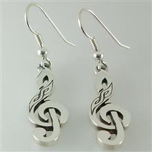 Small Celtic Treble Clef Earrings