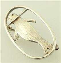 Seal Silver Brooch